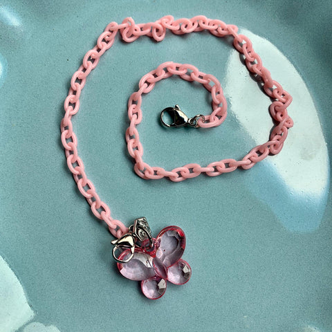 Child Mask Necklace- Pink Butterfly