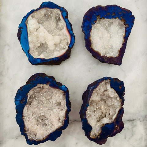 Blue White Aqua Aura Quartz Cut Geode