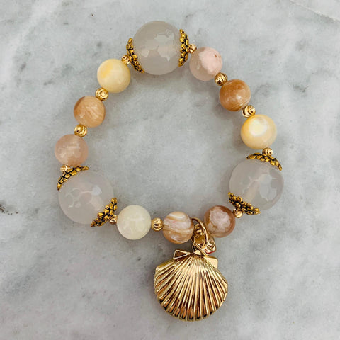 White Agate Treasures with Golden Clam