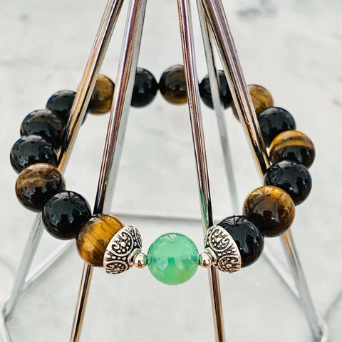Chrysoprase, Black Tourmaline & Tigereye Men Bracelet