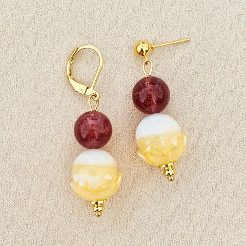 Strawberry Quartz & Yellow Tridacna Earrings