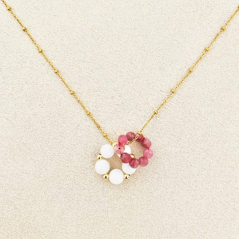 Pink Tourmaline & White Coral Sucre Donut Necklace