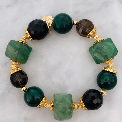 Black Tourmaline, Malachite, Green Strawberry Quartz & Smoky Quartz