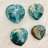 Puffy Green Bloodstone Hearts