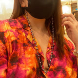 Black-Grey Baroque Pearls Mask Chain Necklace
