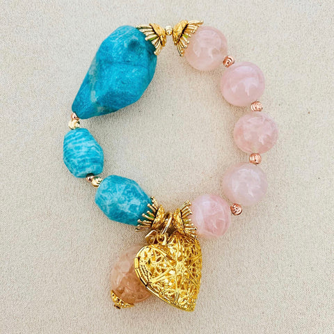 Amazonite & Madagascar Rose Quartz Bracelet (With Lockets)