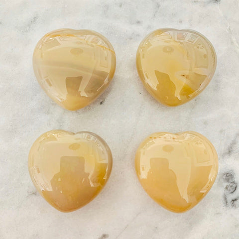 Puffy Yellow Agate Hearts