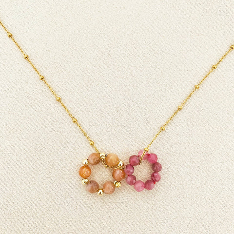 Pink Tourmaline & Sunstone Sucre Donut Necklace