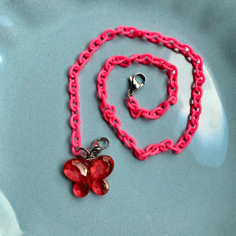 Child Mask Necklace- Red Butterfly