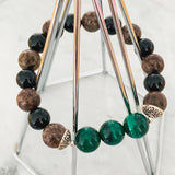 Premium Black Tourmaline, Brown Jasper & Malachite Men Bracelet