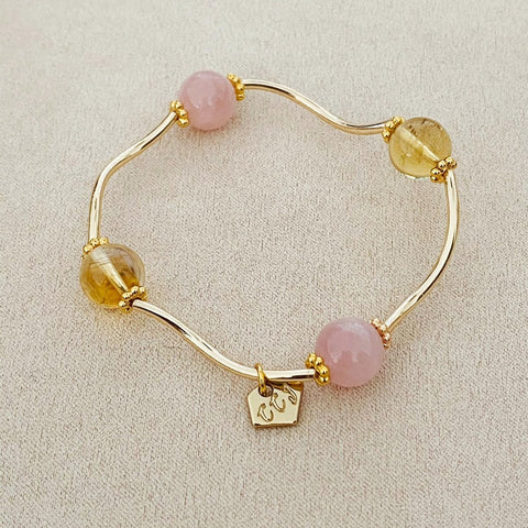 Citrine & Madagascar Rose Quartz La Grace Bracelet