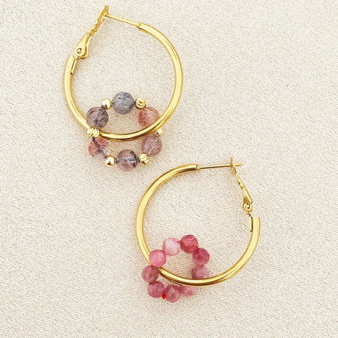 Pink Tourmaline & Super Seven Sucre Donut Earrings