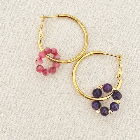 Pink Tourmaline & Amethyst Sucre Donut Earrings