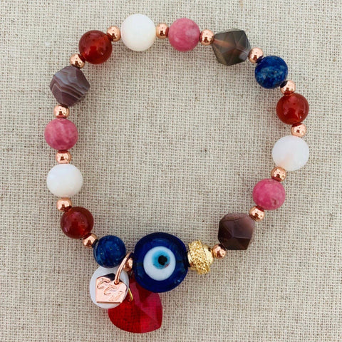 Evil Eye Talisman With Heart Charm