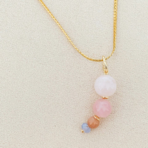 Morganite Moon Pendant/Necklace