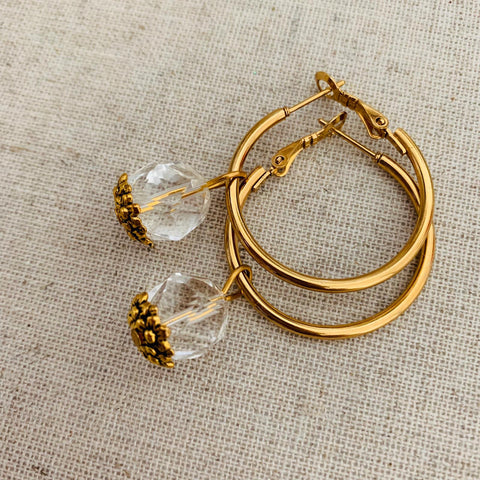 Rock Crystal Hoop GHW Earrings