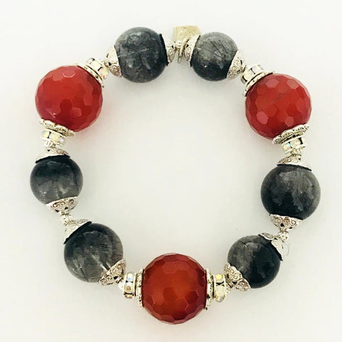 Rutilated Black Quartz & Carnelian