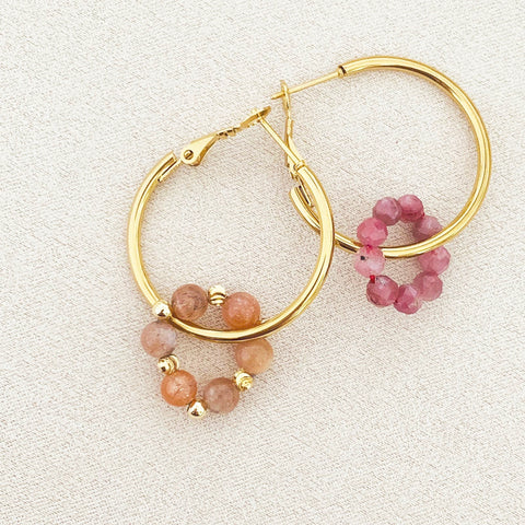Pink Tourmaline & Sunstone Sucre Donut Earrings
