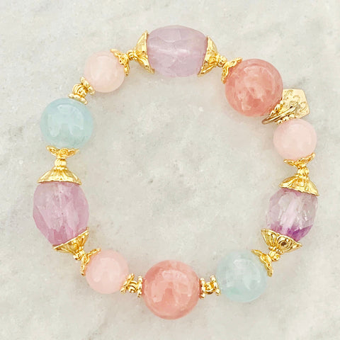 Amethyst, Aquamarine & Madagascar Rose Quartz