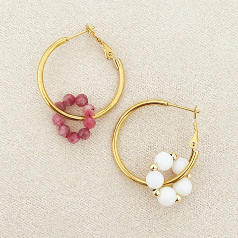 Pink Tourmaline & White Coral Sucre Donut Earrings