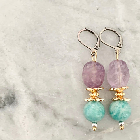 Purples & Amazonite Earrings