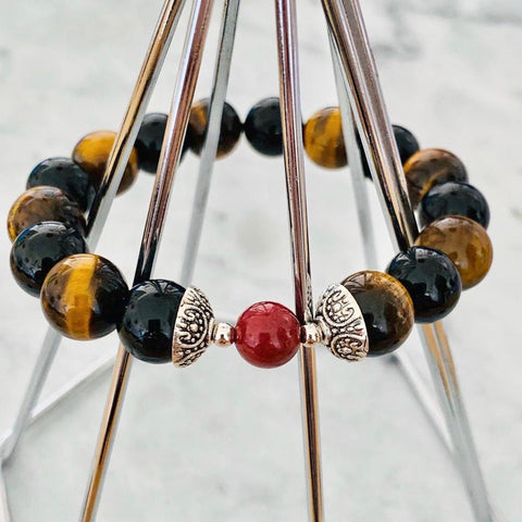 Cinnabar, Black Tourmaline & Tigereye Men Bracelet