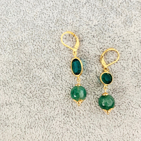 Green Strawberry Quartz Vintage Earrings