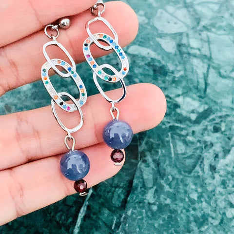 Tanzanite & Garnet Earrings SHW
