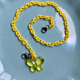 Child Mask Necklace- Yellow Butterfly