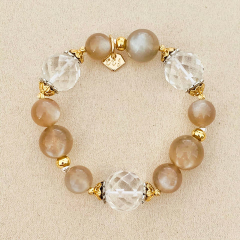 Clear Quartz & Star Sunstone Bracelet