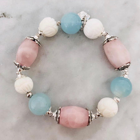 Aquamarine, Madagascar Rose Quartz & White Coral Lotus