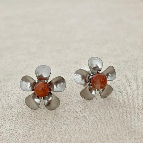 Rabbit Hair Rutilated Quartz Floral Stud Earrings