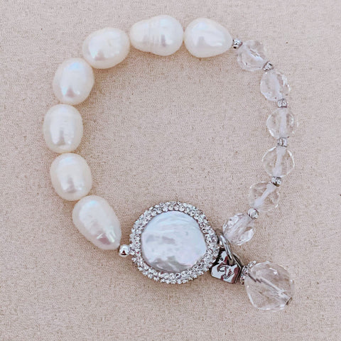 Pearls & Clear Quartz Bracelet