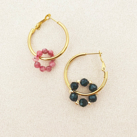 Pink Tourmaline & Black Spinels Sucre Donut Earrings