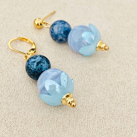 Dumortierite & Blue Lace Agate Earrings