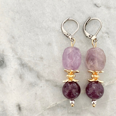 Purples & Lepidolite Earrings