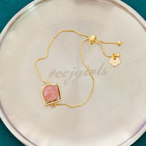 Candy Rose Quartz La Forma Square Bracelet