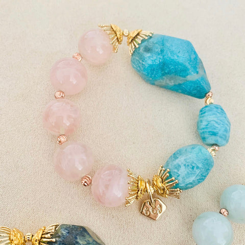 Amazonite & Madagascar Rose Quartz Bracelet (Without Lockets)