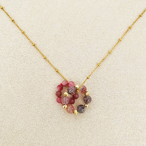 Pink Tourmaline & Super Seven Sucre Donut Necklace