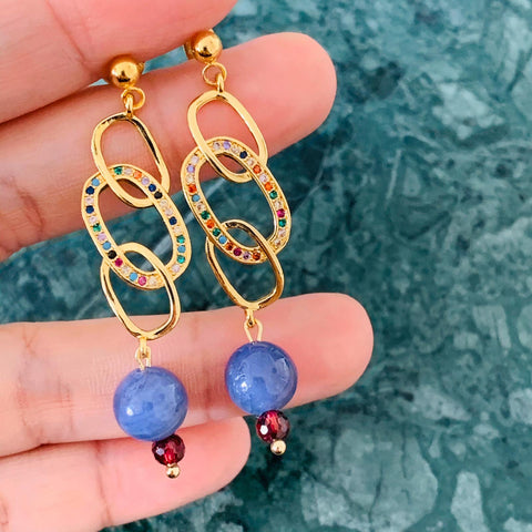 Tanzanite & Garnet Earrings GHW