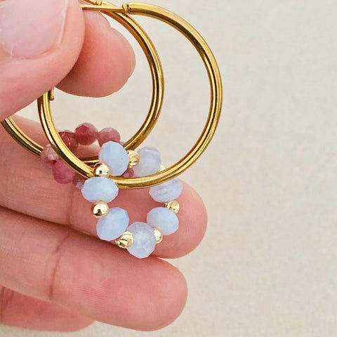 Pink Tourmaline & Blue Lace Agate Sucre Donut Earrings