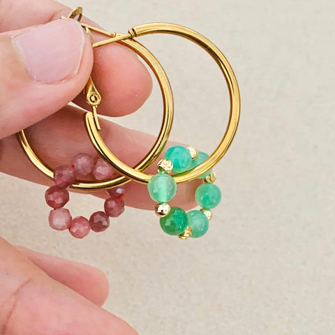 Pink Tourmaline & Chrysoprase Sucre Donut Earrings
