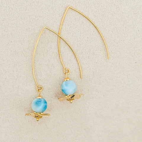 Larimar Floral Earrings