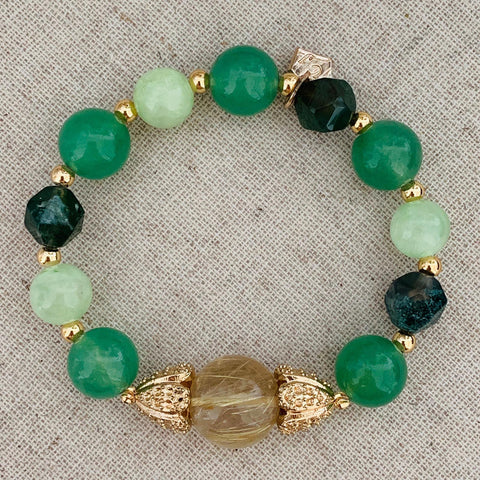 Rutilated Gold Quartz & Greens