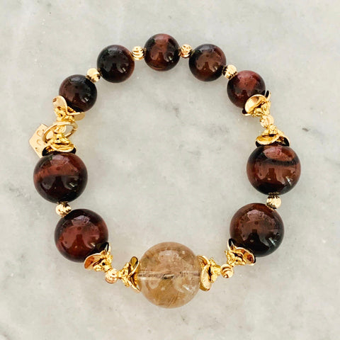 Bronze Rutilated Quartz & Red Tigereye Bracelet