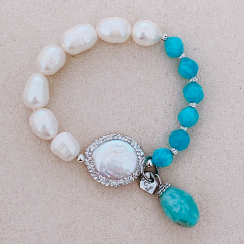 Pearls & Amazonite Bracelet