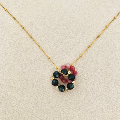 Pink Tourmaline & Black Spinels Sucre Donut Necklace
