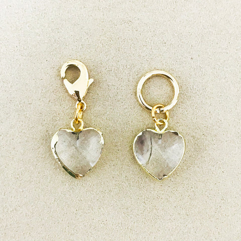 Clear Quartz Heart Charm