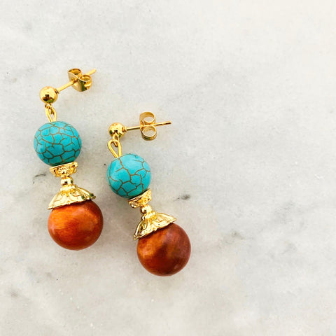 King Of Wood & Turquoise Earrings
