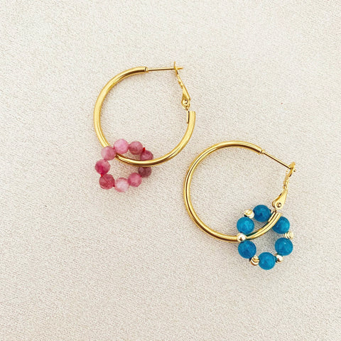 Pink Tourmaline & Blue Apatite Sucre Donut Earrings
